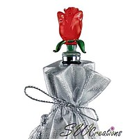 Red Rose Glass Wine Stopper