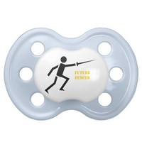 Future fencer black silhouette fencing custom pacifier from Zazzle.com