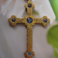 Antique 14K Sapphire Cross 1910, Devotional Jewelry, Florals