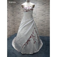 Cheap Price ! 2017  Free Shipping Beading embroidery A line Strapless With Train Wedding Dresses