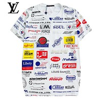 LV Louis Vuitton Summer Newest Women Men Leisure Print Short Sleeve Round Collar T-Shirt Top White
