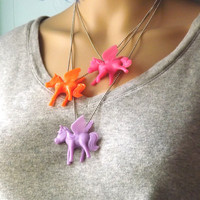 Flying Unicorn Pony Necklace Horned Pegasus Winged Horse set of 3