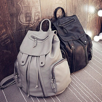 Casual Zippers Leather Stylish Ladies Backpack