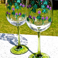 Painted Wineglasses With Shamrocks And Wine Glass Charms, St. Patricks Day, Irish Gifts, Mother's Day Gift, Home Decor