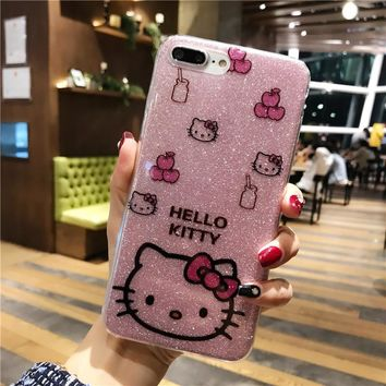 For iPhone6 6plus Cute Cartoon Hello Kitty Bling Glitter edge Soft Phone Case for IPhoneX 8 5 5s 7 Shine Glitter Back Cover Case