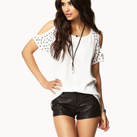 Studded Sleeve High-Low Top