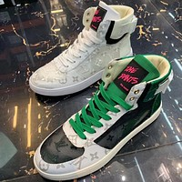 Louis vuitton LV new fashion casual ice silk breathable mesh men's high-top white shoes sneakers