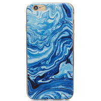 Blue abstract oil painting mobile phone case for iPhone 7 7 plus iphone 6 6s 6 plus 6s plus + Nice gift box 080901
