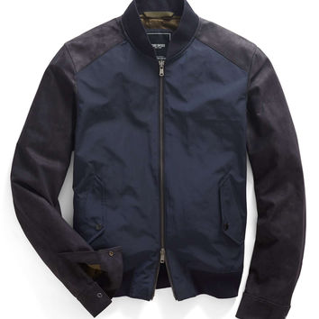 Leather & Nylon Bomber Jacket