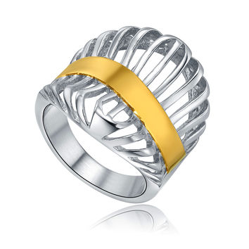 Stainless Steel Curved Gold Color Stripe Ring