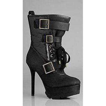 Koolaburra Jaden Biker Boot in Black Distressed Leather