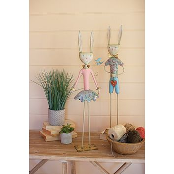 Two Painted Metal Long Leg Boy And Girl Rabbits