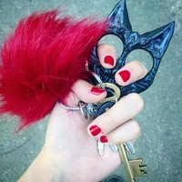 Defense Kitty Key Chain- Black