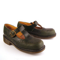 Dr Martens Shoes Mary Janes 1990 Doc Rare Green Leather Made in England UK size 8 US 10