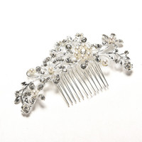 Floral Wedding Tiara Sparkling silver plated Crystal simulated pearl Bridal Hair Combs Hairpin Jewelry Hair Accessories SM6