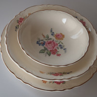 6 Place Settings/ Plate Salad Bowl plate Soup Bowl / Shabby Pink Rose Scalloped edge with Gold Trim / Vintage Dishes by Feisty Farmers Wife