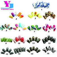 16 Designs Art Fake Nails Full Cover 12pcs/set Colorful Nail Tips Artificial Plastic False Manicure UV Gel Nails Free With Glue