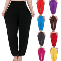 Women Comfy Sexy Harem Loose Long Pants Belly Dance Boho Wide Trousers Yoga Pants = 1932646916