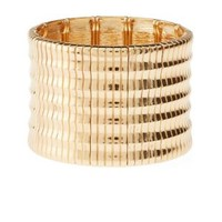 Gold Textured Stretch Cuff Bracelet by Charlotte Russe