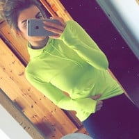 Casual Solid Color Top Sweater Hoodie