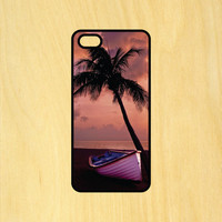 Palm Tree and Boat Phone Case iPhone 4 / 4s / 5 / 5s / 5c /6 / 6s /6+ Apple Samsung Galaxy S3 / S4 / S5 / S6
