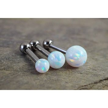 White Fire Opal Stud Cartilage Earring Tragus Helix Piercing