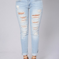 Stressed & Distressed Jeans - Light