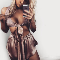 Lace Strappy Embroidery Bras and shorts Set Two-Piece