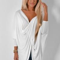Gueva White Wrap Plunge Top | Pink Boutique