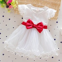 Baby Grils Dresses 2016 New Summer Casual Style Princess Dresses Kids Clothes Bow Floral lace Design for Baby Party Girls Dress