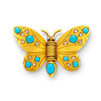 A Turquoise and Diamond Butterfly Brooch, by Boivin, circa 1937 -