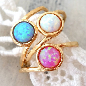 White Opal ring, Blue opal ring, Pink opal ring, Gemstone ring, Gold ring, Silver ring, Opal ring, October birthstone ring, stacking ring