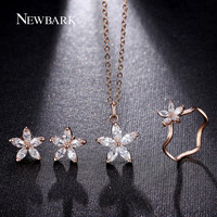 NEWBARK Cute Flower Jewelry Sets Fashion Rose Gold Color Set Dainty 5pcs CZ With High Quality Gift For Women Bisuteria