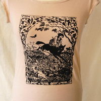 screenprint t-shirt, witch riding wolf, occult, witchy, woodblock print, handmade