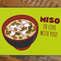 """Foodie Valentine Card """"Miso in Love With You!"""" - Miso soup card, Valentine's day, card for significant other, anniverary card, i love you"""
