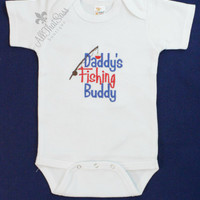 Daddy's Fishing Buddy Onesuit - Boys or Girls - Baby Shower Gift - Babies - Clothing - Bodysuit