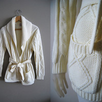The Fisherman - Vintage White Cream Cable Knit Cardigan Wrap Sweater Jacket