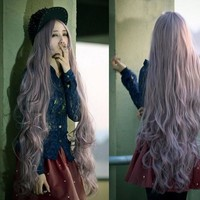 Curly Hair Sea Pale Violet Wigs [6807695239]