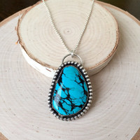 Stunning, Chinese Turquoise Pendant with Handmade, .925 Sterling Silver Bezel with Patina Details and Silver Rolo Chain, Statement Necklace