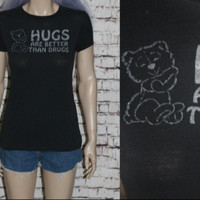 90s Tshirt Teddy Bear Hugs Not Drugs Baby Doll Fitted Grunge Punk Nu Goth Hipster Festival Pastel Gothic Rave Club Kid Y2K Cyber S M L Graph