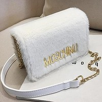 MOSCHINO Women Leather Plush Bag Shoulder Bag Crossbody Satchel White