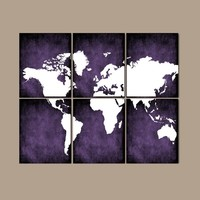 WORLD MAP Wall Art, CANVAS or Prints Bedroom Wall Decor, Grunge Effect, Purple Colors, Desk Office Decor, Library Room, Set of 6, Home Decor
