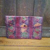 Vintage Embossed Colorful Leather Envelope Style Pouch Purse Made in India