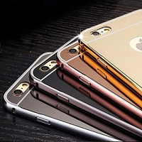 Luxury Plating Mirror Backplane Plus Environmental Alloy Frame Phone Case for iPhone 5/5S