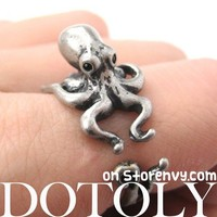 3D Realistic Octopus Squid Animal Wrap Ring in Silver - Sizes 4 to 9