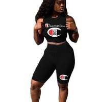 Champion Summer New Fashion Letter Print Leisure Vest Top And Shorts Two Piece Suit Women Black