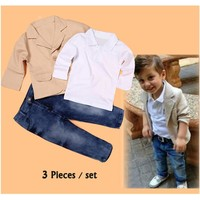 2018 New Arrival Baby Boys Clothing Sets 3 Pieces Blazer+T Shirt+Jeans European Style Children clothes Casual Suits Kids Wear