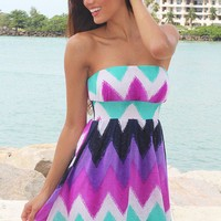 Purple and Jade Chevron Short Dress