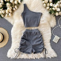 Foamlina Casual Women 2 Piece Set Solid Summer Fashion One Shoulder Sleeveless Crop Top and Drawstring Shorts Workout Tracksuits