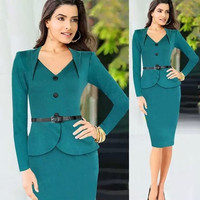 2015 Office dress Long Sleeve Winter dress Women Square Collar Vintage Evening Celeb button Party business Pencil Bodycon Dress = 1956542468